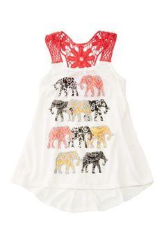 Ten Sixty Sherman Elephant Crochet Back Tank (Big Girls)