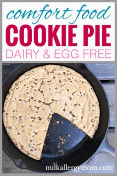 When your kiddo wants this as his birthday cake and Thanksgiving pie every year, you know it's a yummy dessert! Get this dairy-free and egg-free cookie pie recipe at Milk Allergy Mom! Egg Free Desserts, Egg Free Recipes, Vegan Desserts, Delicious Desserts, Yummy Food, Chocolate Chip Cookie Pie, Egg Free Cookies, Milk Allergy, Dairy Free Eggs