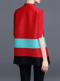 Ribbed Color Block Short Sleeved Top