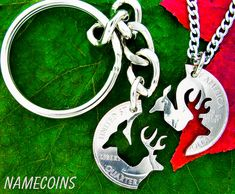 Buck and Doe Keychain hunting jewelry Deer necklace by NameCoins, $39.99
