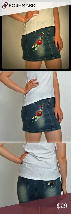 Denim mini skirt Designed in Europe,embroidered denim mini skirt.Colorful floral embroidery on front.Cute flower on the rear pocket.Our products made from excellent quality denim.98%cotton 2% spandex.Unique design, buy and save now.Limited quantity. embroidery dezigns Skirts Mini