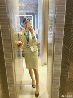 Korean Air, Cabin Crew, Flight Attendant, These Girls, Dresses For Work, Coat, How To Wear, Jackets, People