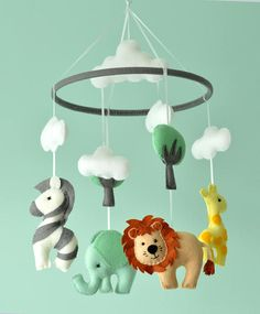 Baby Nursery Animal Mobile / Felt Baby Mobile / Safari Mobile / Made To Order Giraffe Nursery, Safari Nursery, Animal Nursery, Elephant Mobile, Baby Elephant, Baby Crib Mobile, Baby Cribs, Mobile Safari, Felt Baby