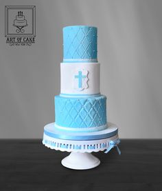 Elegant quilted fondant and pearls Communion Cake