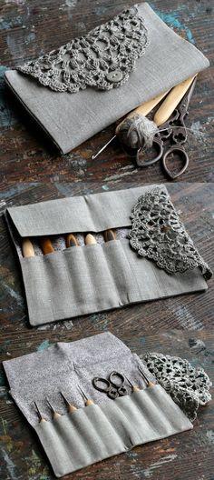 Inspiration :: Pretty crochet hook case, made by namolio on Etsy (no pattern) . . . . ღTrish W ~ http://www.pinterest.com/trishw/ . . . .:
