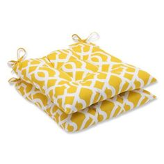 Pillow Perfect Outdoor/ Indoor New Geo Yellow Wrought Iron Seat Cushion (Set of 2)