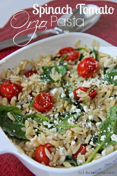 Spinach Tomato Orzo #Pasta by bakertte on www.whatscookinwithruthie.com - could substitute #quinoa or whole wheat couscous