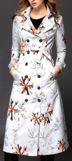 Snowflake Printed Coat in White - DESIGNER INSPIRED FASHIONS