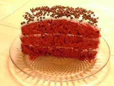 Buttermilk red velvet cake with chocolate chips and cream cheese frosting. . . moist and yummy!
