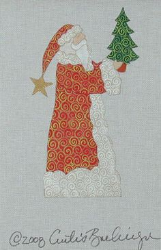 CURTIS BOEHRINGER HAND PAINTED NEEDLEPOINT CANVAS THE CHRISTMAS TREE SANTA
