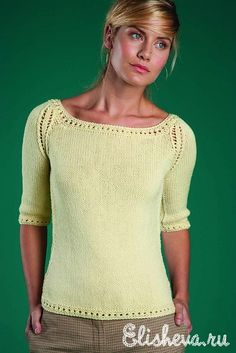 Пуловер лимонного цвета вязаный спицами