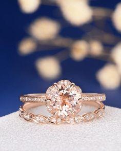 Unique Morganite Bridal Set Engagement Ring Rose Gold Flower
