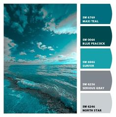 The aqua color must be painted, beautiful! aqua water and sky Colour Schemes, Color Combos, Decorating Color Schemes, Color Schemes For Bedrooms, Color Schemes With Gray, Best Color Combinations, Decorating Ideas, Stürmische See, Stormy Sea