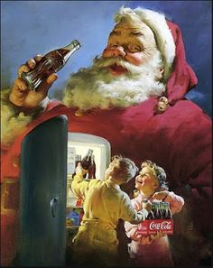 Coca-Cola Santa by Norman Rockwell The Coca Cola Santa is really the image fixed in Americans minds of what Santa is suppose to look like. always know it's xmas when the xmas coca cola ad is on!