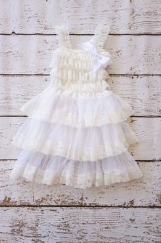 White lace girls dress girls rustic dresses by PoshPeanutKids