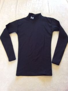 Under Armour Cold Gear Top Small Mens Black Compression Mock Neck Ski Snow #UnderArmour #ShirtsTops