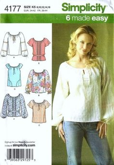 peasant blouse sewing pattern | Clothing Pattern – Peasant Blouse – 365 Free Sewing Patterns – A