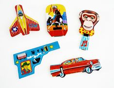 Tin Plate Lithographed Party Novelty Whistles, Tin Toys, Made in Japan, Monkey, Cowboy, Gun, Indian Headdress, Horse, 1950's Car, Airplane by Retrorrific on Etsy