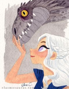 Mother of Dragons by Elsa Chang - elasmosaurus Dessin Game Of Thrones, Game Of Thrones Art, Harry Potter Disney, Illustrations, Illustration Art, Character Art, Character Design, Art Aquarelle, Desenhos Harry Potter