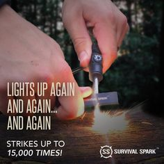 Magnesium Survival Fire Starter with Compass and Whistle . Lights up time & time again! Strikes up to times to make a fire when you want or need it most. Must have emergency tool.