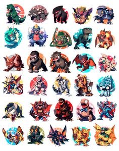 finally got around to putting all these guys together ✨ was such a great learning experience, and really pushed my… All Godzilla Monsters, Godzilla Comics, Godzilla Wallpaper, Creature Concept Art, Creature Design, Monster Art, Monster Hunter, Big Lizard, Chibi