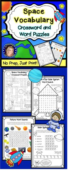 Space Vocabulary Crossword and Word Puzzles! Fun and engaging word puzzles to reinforce key vocabulary during a unit on the Solar System and Beyond! Perfect for early finishers, review and ESL students.