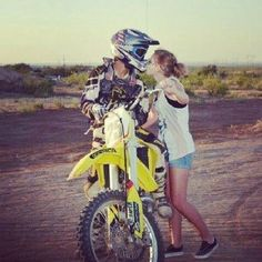 Motocross girlfriend. Bicyclist girlfriend.  All the same and I love it either way. He may be a dork on the side of the road but a cute dork he is.