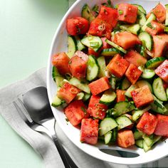 Minty Watermelon-Cucumber Salad Recipe -Capturing the fantastic flavors of summer, this refreshing, beautiful watermelon-cucumber salad will be the talk of any picnic or potluck. —Roblynn Hunnisett, Guelph, Ontario