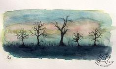 Illustrationen - Winterbäume - ein Designerstück von silvanillion bei DaWanda