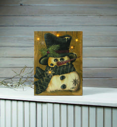 Snowman All Bundled Up  Lighted Canvas. We have over 500 lighted picture designs.