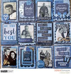 'Happiness looks Good on You' Masculine Pocket Page by Sonia Thomason Design Team member for  Kaisercraft Official Blog using their 'Indigo Skies' New April 2017 Collection. Learn more at kaisercraft.com.au/blog ~ Wendy Schultz ~ Planners and Pocket Pages.