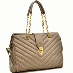 Faux Leather Chevron Quilted Tote Bag Only Sold 42.99 beige- fashlets.com