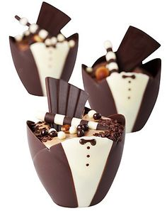 Chocolate Tuxedo Cups filled with chocolate mousse and chocolate decorations. www.KaneCandy.com