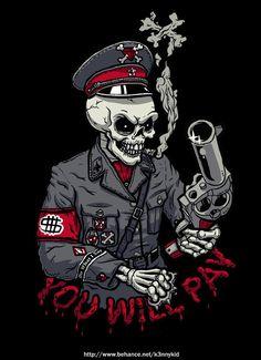 Bad to the Bone by Kenny Kid, via Behance Dope Cartoon Art, Dope Cartoons, Rock Poster, Skull Wallpaper, Marvel Wallpaper, Skull Pictures, Skull Artwork, Skeleton Art, Tattoo Flash Art