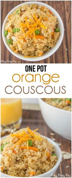 This quick and easy orange couscous recipe is the perfect side dish or even easy dinner recipe. The flavors and texture are amazing in this recipe from playpartypin.com.