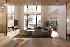 The warm spacious interior of our Modern House Spacious Living Room, Living Room Modern, Living Room Interior, Home Living Room, Home Interior Design, Living Room Designs, Modern Houses Pictures, Cottage Interiors, Modern Exterior