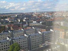 View from the floor in an office building Bricks, Copenhagen, Paris Skyline, Copper, Floor, Street, Building, Travel, Pavement