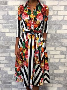 7c4f56676eb6 Floral & Striped Print Half Sleeve Shirt Dress Online. Discover hottest  trend fashion at chicme.com