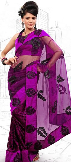 $48.18 Pink Brasso and Net Latest Fashion Saree 16708 With Unstitched Blouse