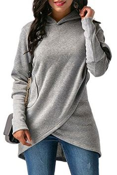Autumn Winter Irregular Hooded Hoodies Women Loose Long Sleeve Sweatshirt Female Fashion Solid Pocket Hoody Pullover Red S Plain Hoodies, Hoodie Sweatshirts, Sweatshirt Refashion, Mode Hijab, Casual Tops, Clothes For Women, How To Wear, Long Sleeve, Cheap Fashion