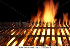 Empty Flaming Charcoal Grill With Flames Of Fire On Black Background Closeup. Summer Outdoor Barbecue Party or Picnic Concept. Jamaican Restaurant, Korean Chicken, Charcoal Grill, Black Backgrounds, Barbecue, Empty, Picnic, Fire, Concept