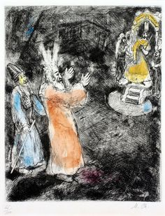 Marc Chagall, Moses and Aaron Before the Pharaoh Marc Chagall, Chagall Prints, Biblical Art, Stage Set, Jewish Art, Kandinsky, Henri Matisse, Cubism, French Artists