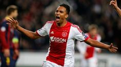 Danny Hoesen wheels away after scoring Ajax's second goal of the night