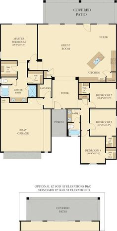 The single-story Whitney plan features four bedrooms and a huge open-concept great room.