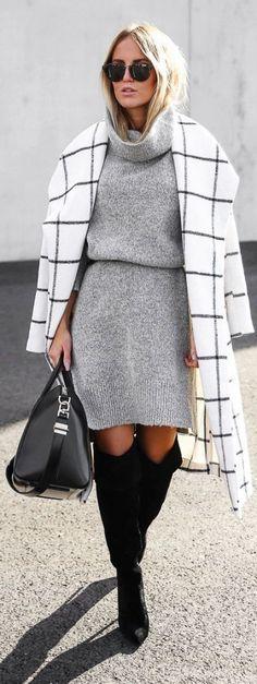 #winter #fashion / gray knit dress
