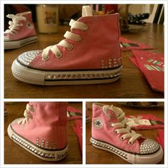 Lilys bedazzled converse!! I used e6000 (a little goes a long way) and used tweezers to place the jewels. Can't wait to see how they hold up!!