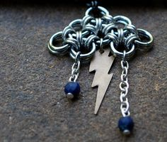 Lightning Bolt Storm Cloud Chainmail Pendant by GeekyGaeaDesigns