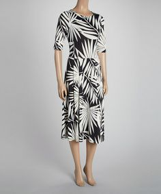Another great find on #zulily! Black & White Leaf Midi Dress #zulilyfinds Original price: $100, sale price: $34.99! This dress looks very comfortable, and could be dressed up or down, for any occasion.  Also, I think, is appropriate for a woman of any age.