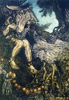 "Sleep thou, and I will wind thee in my arms. ""A Midsummer-Night's Dream"" (1908) illustrated by Arthur Rackham (Act IV, Scene I)."