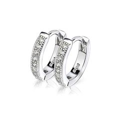 796b03ca6 IminiJewelry Dainty Cubic Zirconia Small Huggie Hoop Earrings for Women  Teen Girls Sterling Silver White Gold Plated Tiny Crystal Hoops  Hypoallergenic ...